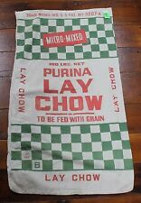 Vintage Purina LAY CHOW Ration Cloth Feed Sack Red/Green Feed Bag 027
