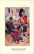POSTCARD  MILITARY  ENTENTE  CORDIALE   French &  British  Soldiers