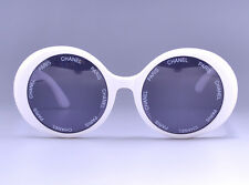 CHANEL PARIS Vintage White Sunglasses 01949 10601 w/Case Very RARE MINT #676
