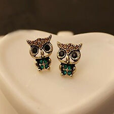 Vintage Womes Owl Rhinestone Crystal Ear Stud Earrings Fashion Chic Jewelry Gift