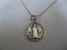 "St Benedict PROTECTION Medal Pendant ITALY Silver Plated Chain 18"" Necklace"