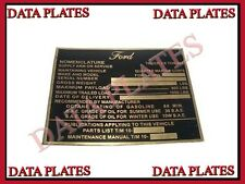 Brand New Jeep Mb GPW Ford GP Nomenclature High Quality Data Plate Brass