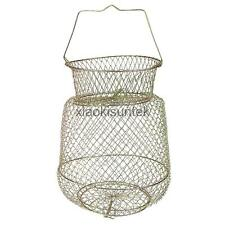 Fordable Wire Floating Fish Basket Fishing Tackle Accessory 25cm Gold