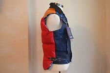 DSQUARED² LOING TAIL BLUE DISTRESSED DENIM JEAN DOWN VEST PUFFER JACKET S 34 44