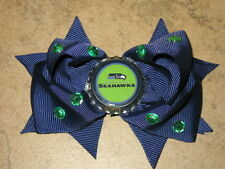 "NEW ""SEATTLE SEAHAWKS"" Pro Football Girls Ribbon Hair Bow Rhinestone Clip NFL"
