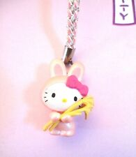 Sanrio Hello Kitty Pink bunny With Straw Glass Strap Charm 2007 NEW