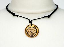 Wolf Necklace Unisex Mens Ladies Wooden Choker Wolves Jewellery Gift Unique