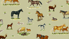 Fat Quarter Farm Animal Horses Ponies Equine Cotton Quilting Fabric Makower 1487