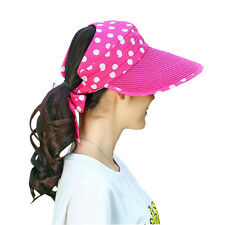 Fashion Women's Summer Wide Brim Roll Up Foldable Sun Beach Straw Visor Hat Cap
