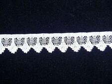 "White 3/4"" Flat Lace Polyester Craft Sewing Trim Hearts Diamonds Design Per 4 Yd"