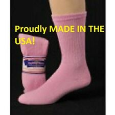 12 Pair Women's Pink Diabetic Crew Socks Size 9-11 Shoe Size 5-8