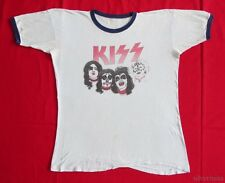 KISS Vintage T Shirt 70's TOUR Concert Ringer MASKED HARD ROCK Heavy Metal