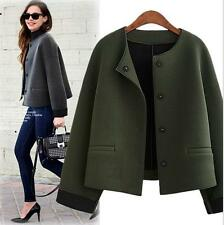 Women autumn spring Tee collar short jacket outwear Wool Trench Coat parkas