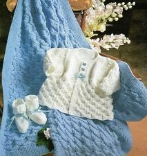 Knitting Pattern Baby Cardigan, Bootees & Blanket Lovely Set for Newborn