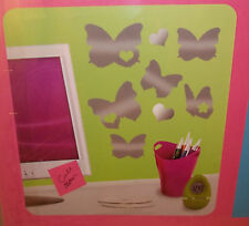Teen Kids Peel & Stick Mirrors Mirror Wall Decor Heart & Butterflies Butterfly