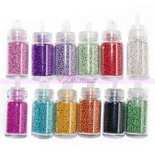Nail Art 12 X Bottles Balls Rhinestone Manicure Caviar Beads DIY Decoration