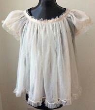VTG Eye-Ful Double Layer BABYDOLL NIGHTGOWN Small Ruffles Hearts