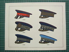 1920 CHROMOLITHOGRAPH MILITARY UNIFORM PRINT ~ TYPES OF SOLDIERS HATS