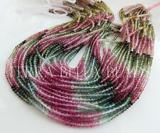 "13"" AAA WATERMELON TOURMALINE micro faceted gem stone rondelle beads 2.5mm multi"