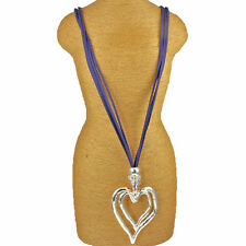 Lagenlook Large chunky double heart silver pendant CZ blue suede long necklace