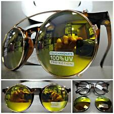 VINTAGE 60s RETRO Style Clear Lens CLIP ON SUN GLASSES Round Tortoise Gold Frame