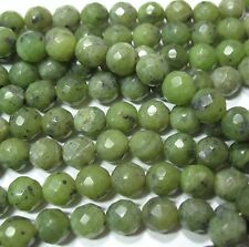 "Canadian Nephrite Green Jade 8mm Faceted Round Beads 15.5"" Natural Color"