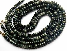 NATURAL CHRYSOBERYL CAT'S EYE BLACK 3-6MM RONDELLE BEADS NECKLACE 116CTS. 17""