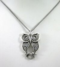 Beautiful New Silver Owl Pendant Necklace With Crystals #N2241A