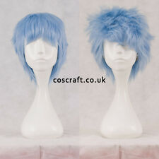 Short layered fluffy spikeable cosplay wig in baby blue, UK seller, Jack style