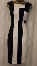 Karen Millen Bold Stripe Block BlackWhite Cage Panel Pencil Cocktail Dress 10 38