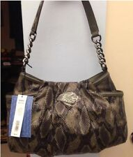 Simply Vera Wang Pleated Shoulder Bag / Hobo / Purse ~ Green Snakeskin ~ NWT