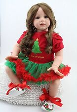 24inch Lifelike Christmas Reborn Baby Realistic Soft Silicone Toddler Girl Dolls