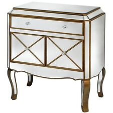 ITALIAN VENETIAN ANTIQUE GOLD MIRRORED GLASS SIDEBOARD CABINET CONSOLE (H9415)