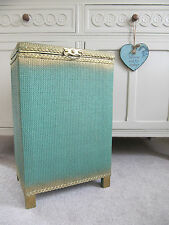 VINTAGE SHABBY CHIC GREEN & GOLD WICKER LAUNDRY BIN ~ CLOTHES WASH BASKET