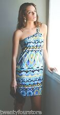 NWT $200 T Bags One Shoulder Twisted Strap Mini Dress Multi Color sz XS