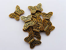 20 x Tibetan Style Butterfly Beads 10.5mm x 15mm Antique Gold Lead Free Animal