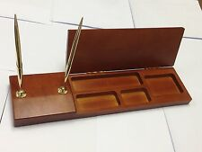 Solid Wood Cherry Finish Executive Desk Organizer with Double Gold Pen Stand