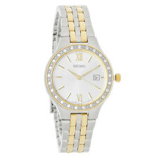 Seiko Crystal Ladies Silver Dial Two Tone Bracelet Dress Watch SUR758