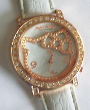 Sanrio HELLO KITTY White & Golden with Rhinestones Watch