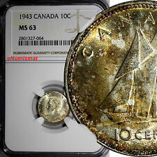 CANADA George VI Silver 1943 10 Cents NGC MS63 Lightly Toned KM# 34