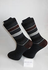 Grey Socks with brown heal and toes with grey, brown & black stripes. Black Sox