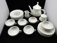Vtg Georges Boyer Limoges Tea & Snack Set, Birds & Blue Floral Design, 6 Setting