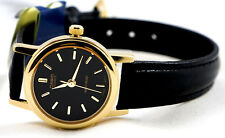 Casio LTP-1095Q-1A Ladies Black Analog Watch Leather Band Gold Tone New