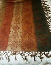 Vintage Victorian Tapestry Woven Table Cloth Piano Cover Tassle Edge Brown Green