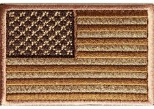 "(B20) SUBDUED BROWN AMERICAN FLAG 3"" x 2"" iron on patch (2904) Biker"
