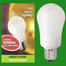 11W Warm White Low Energy Power Saving CFL Mini GLS Light Bulb E27 Screw Lamp