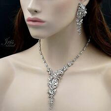 Rhodium Plated Clear Crystal Necklace Earrings Bridal Wedding Jewelry Set 00119