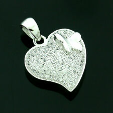 Sterling Silver Cubic Zirconia Micro Pave Set Heart Pendant -FREE Gift Box