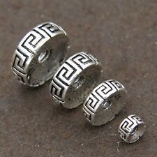 NEW 2pcs Solid 925 Sterling Silver 10mm Flat Round Beads for bracelet