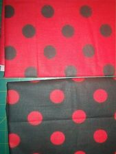 2 yards red & black polka dot fabric-large dots-poly/cotton-60 inch wide